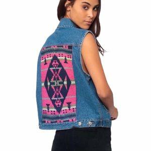 Pendleton Cotton Blue Denim Jean Aztec Vest